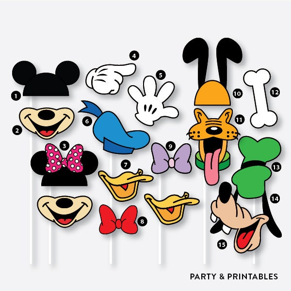 Instant Download 39 Pieces Mickey Mouse Inspired Photo Booth