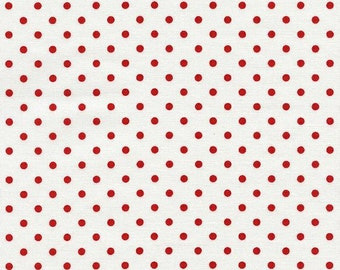 Cherry Red Polka Dots on White Blender Fabric by Timeless Treasures By The Half Yard 100% Cotton, Polka Dot Geometric