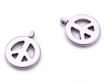 2 x pendant peace sign silver, 15 x 18 mm | Charm, versatile - AN06AS