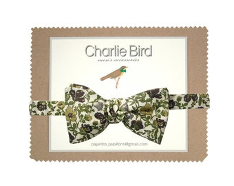 """Flowered Charlie Bird bow tie on Liberty """"Meadow olive"""""""