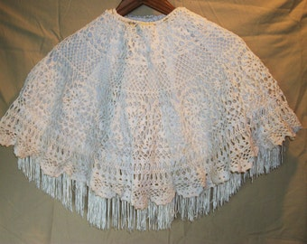 Vintage CROCHETED LAMP Shade COVER With Fringed Under Skirt