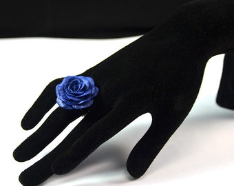 Blue Rose Ring - Floral ring - Polymer clay jewelry  - Handmade ring with flower - Ring with rose - blue rose