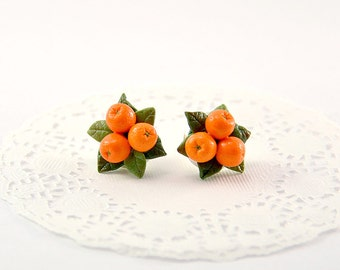 Orange Stud Earrings or clips - Polymer clay jewelry - Handmade Orange jewelry - Orange citrus - Fruit earrings - mandarin