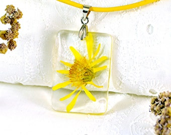 Rectangular yellow Necklace Pendant - Real Dry flower in Epoxy Resin - Resin necklace - Floral Necklace Handmade