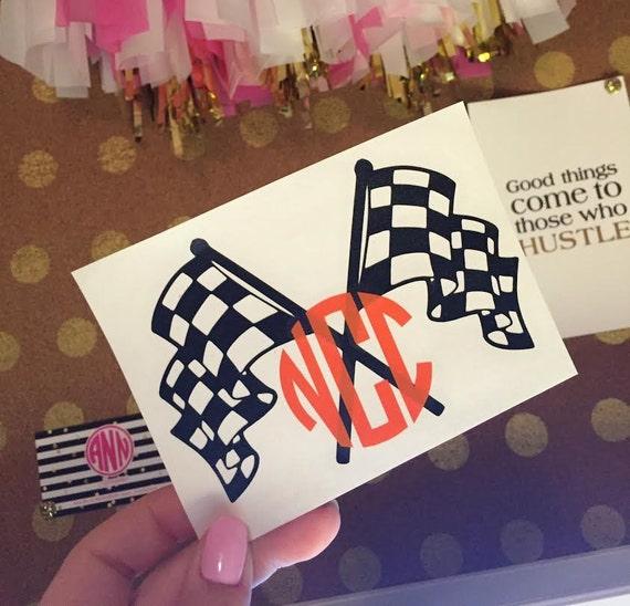 Decal racing monogram racing flags decal monogrammed decal
