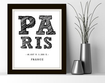 Paris Coordinates - Paris France, Paris Print, Paris Art, Paris Digital Print, Wanderlust, Paris Decor, Paris Home, Gray and White, Paris