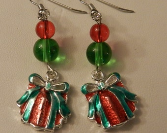 Christmas Present Holiday Silver Earrings V3