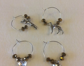 Greyhound wine glass charms x4