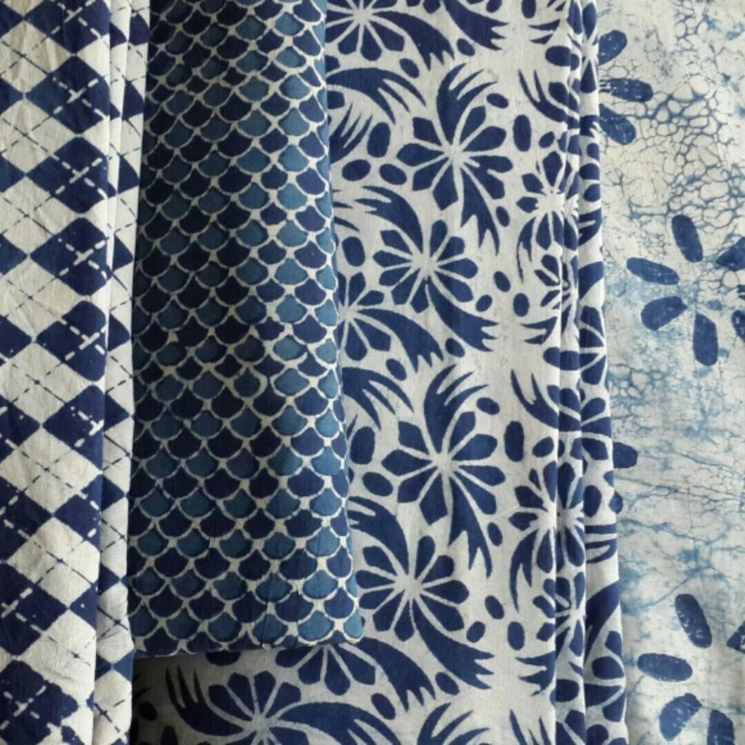 Rare White Indigo Fabric Unique Mudcloth Block Print By The