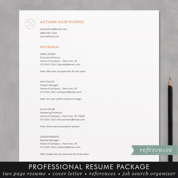 minimal modern resume cv template word mac or pc