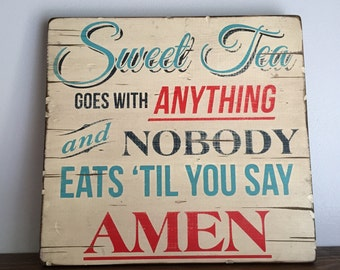 Wooden Sign - Sweet tea - Quotes - Southern - Rustic - Red White Blue - Amen