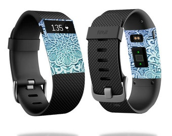 Skin Decal Wrap for Fitbit Blaze, Charge, Charge HR, Surge Watch cover sticker Carved Blue