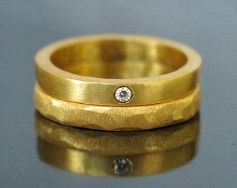 20% sale Unique wedding band set, Gold diamond wedding band, Gold wedding ring, Gold ring set, Stacking engagement ring, Gold diamond ring,