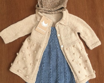 Baby Coat, Alpaca Coat, Hand Knitted Coat, Girl Coat. Custom Order