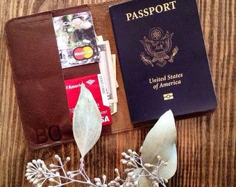 Genuine Leather Passport Wallet. Travel Wallet. Leather Passport Cover.
