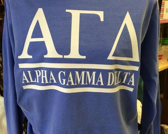 Custom Alpha Gamma Delta Collegiate Style Comfort Colors Tanks, Short Sleeves, Long Sleeves, and Sweatshirts