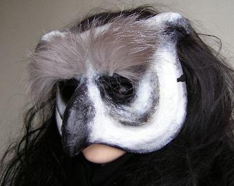 Masquerade mask Owl mask Bird mask Animal mask Paper mache mask Owl costume Paper owl mask Halloween mask