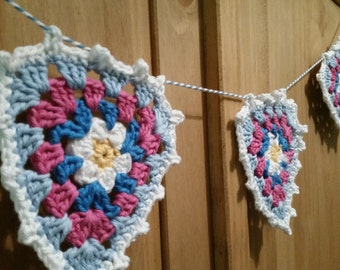 Pretty Hand Crocheted bunting with picot edging