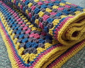 Hand crochet vintage style granny square throw/blanket. READY TO SHIP