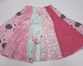 Girls Pink Flamingo and Ostrich Cotton Twirly Skirt in Sizes 2  3  4  5  6  7  12  14