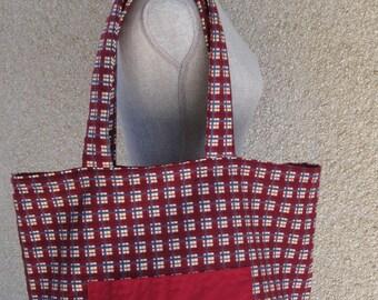 Tote bag, Market bag, Shopping Bag, Reusable shopping Bag, Plaid shopping bag, Red Bag, Weekend Bag, Carry Bag, Reversible Bag