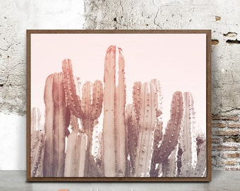 Pink Cactus Print, Joshua Tree Print, Desert Wall Art, Palm Springs, 16x20