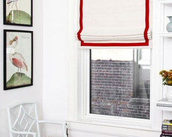 "Flat Roman Shade ""White with the red trim"" with chain mechanism, custom made"
