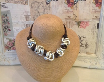 Black and silver  chunky twist necklace