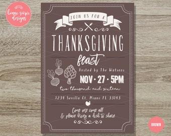 Thanksgiving Invitation // 5x7 Rustic Farm Thanksgiving Printable Invitation - Thanksgiving Dinner Party - Fall Harvest Invitation Autumn