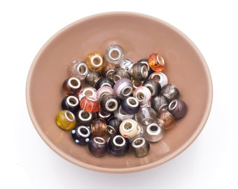Murano Glass Large Hole Beads, 43 Pieces, Destash, European Beads