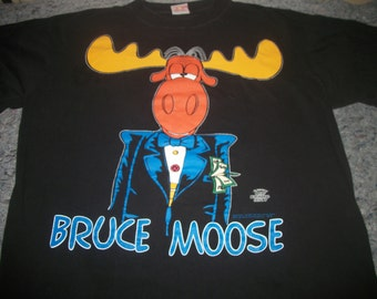 BULLWINKLE t shirt 1994 as Bruce Wayne & Batman 2 sided