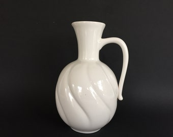 "Dutch Zenith Keramiek  Gouda , ,,Delfts White"", stylish Vintage 1970s  white Ceramic handled  vase . Made in Holland."