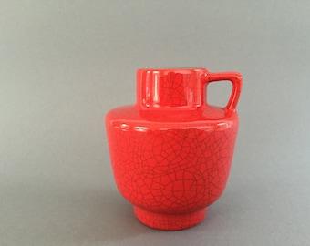 Marzi & Remy 2023  glossy red crack glaze handled vase  1960s  WGP.- West Germany Pottery