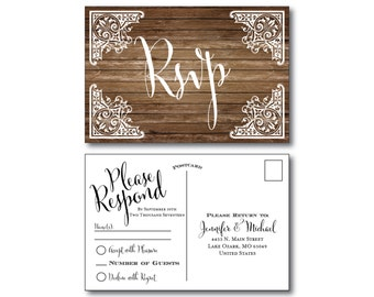 Rustic Wedding RSVP Postcard - Country Chic - Barn Wedding - Fall Wedding - Rustic Wedding - RSVP Postcard - Wedding Postcard #CL257