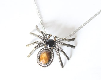 Large Sparkly Spider Pendant Necklace Arachnid