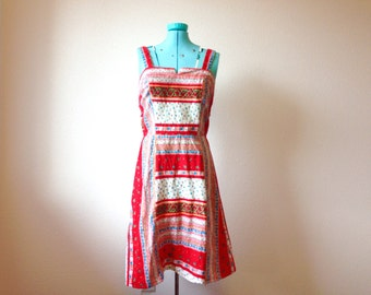 1970s Red Cotton Floral Mini Sundress