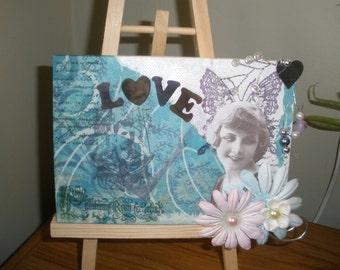LOVE mixed media wall art canvas