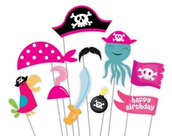 Girls Pirate Photo Booth Props - Pirate Birthday Props - Instant Download, printable files