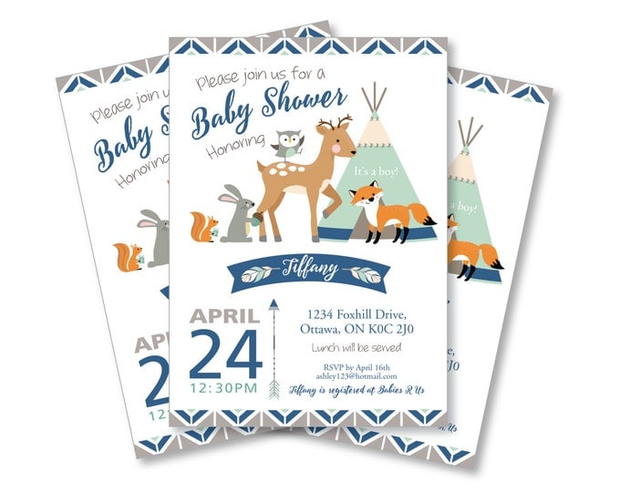Tepee Woodland Baby Shower Invitation / Gender Neutral / Mint / Woodland Animals Invite / Tepee, feathers, arrows, tribal inspired