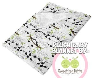 Black & White Hello Panda Plush Fleece Swaddling Blanket / Receiving Blanket / Baby Blanket / Panda Bear baby blanket / Baby Shower Gift