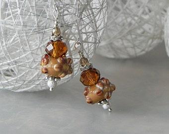 Brown Earrings Floral Earrings Glass Art Earrings Flower Earrings Lampwork Earrings Romantic Earrings Fall Autumn Earrings Nature Jewelry