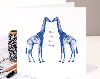 Giraffe Valentines Card; Giraffe Love Card; I Love You Card; Card For Husband; Card For Wife; Wedding Card; Giraffe Anniversary Card (GC029)