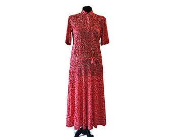 Red Harrods Dress // Vintage Harrods Dress with a Dropped Waist // 1960's Dress //