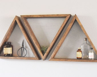 Set Of Three Geometric Wall Art Shelf Geometric Home Decor Wall Hanging