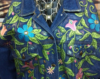 DKNY Vintage Denim Jacket with Custom Detail Hand Painted with Bling! Super Cute So Retro