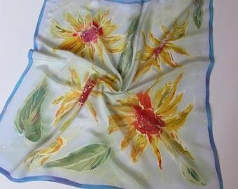 Hand painted silk Crepe de chine scarf. Real 100% silk. 27 x 27 inc. Роспись натурального шелкового Крепдешина.Батик Подсолнух