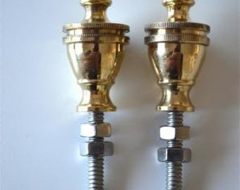A pair of superb quality antique style brass furniture or clock finials 2013