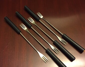 Fondue Forks stainless steel with Color Dots, Cheese Fondue Forks