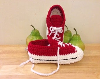 Ladies' Hot Pink/White or Red/White Crocheted Sneaker Slippers Crocheted Sneaker Slippers Crocheted Sneaker Booties
