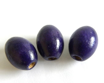 10 pc. Oval Wooden Beads 17 x 13 mm - Indigo